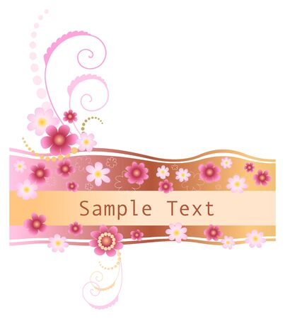 Feminine retro floral banner in pink and beige shades Banco de Imagens