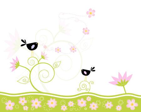 Loving vogels zingen het voorjaar Stock Illustratie