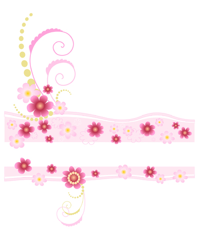 Feminine retro floral banner in pink Vector