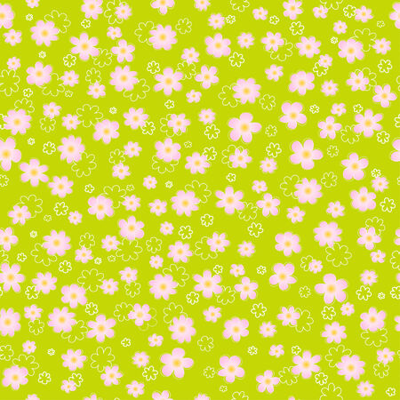 Floral seamless background in green and pink shades Ilustração