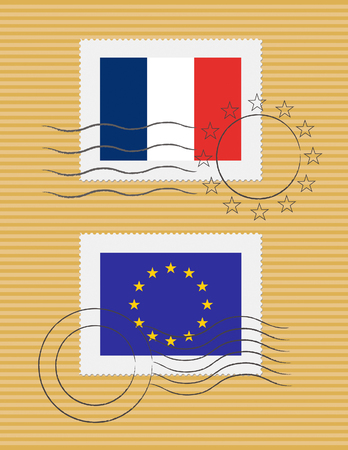 French and European Union flags on a stamp with postmarks