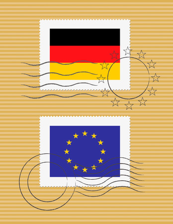German and European Union flags on a stamp with postmarks