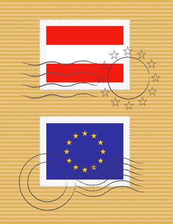 Austria y la Unión Europea sobre las banderas de un sello con matasellos