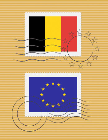 Belgian and European Union flags on a stamp with postmarks