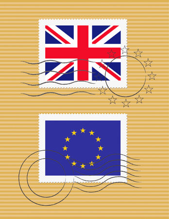 British and European Union flags on a stamp with postmarks