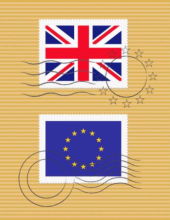 Britse en Europese Unie vlaggen op een postzegel met stempels Stock Illustratie