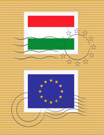 Hungarian and European Union flags on a stamp with postmarks Ilustração