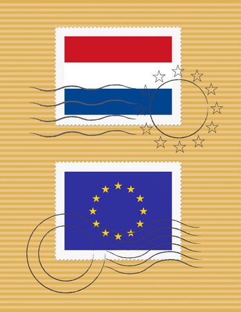 Dutch and European Union flags on a stamp with postmarks Ilustração