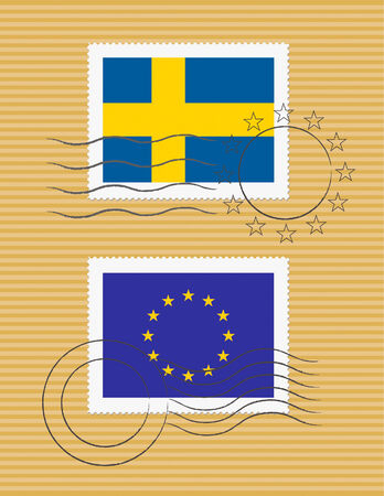 Swedish and European Union flags on a stamp with postmarks