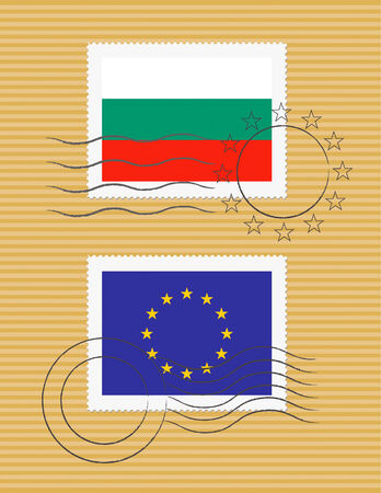 Bulgarian and European Union flags on a stamp with postmarks 向量圖像