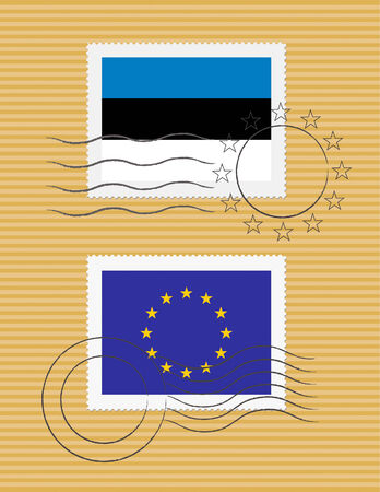 Estonian and European Union flags on a stamp with postmarks