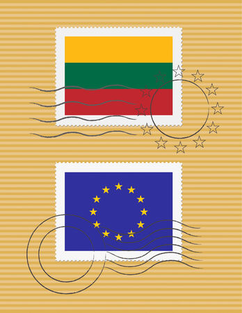Lithuanian and European Union flags on a stamp with postmarks