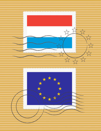 Luxembourg and European Union flags on a stamp with postmarks Ilustração