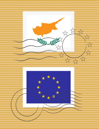 Cypriot and European Union flags on a stamp with postmarks