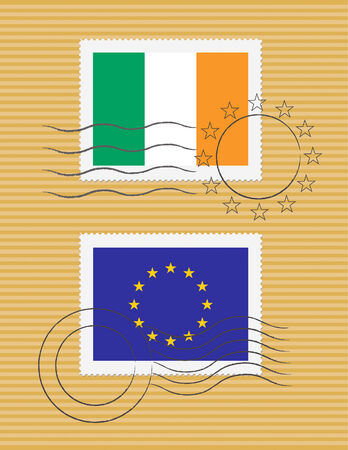 Irish and European Union flags on a stamp with postmarks