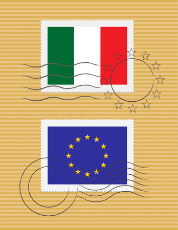 Italian and European Union flags on a stamp with postmarks