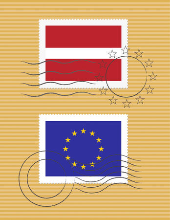 Latvian and European Union flags on a stamp with postmarks Ilustração