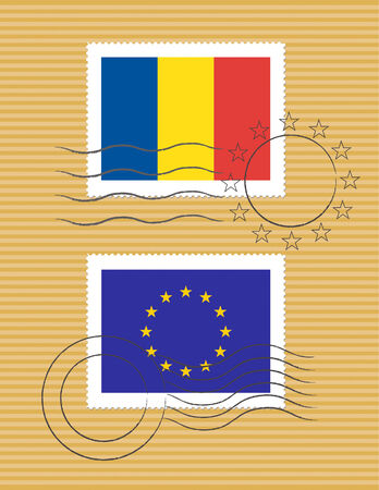 romanian: Romanian and European Union flags on a stamp with postmarks