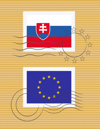 Slovakian and European Union flags on a stamp with postmarks