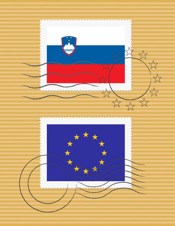 Slovenian and European Union flags on a stamp with postmarks