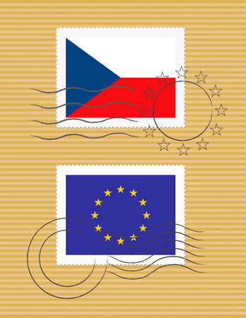 Czech and European Union flags on a stamp with postmarks Ilustração