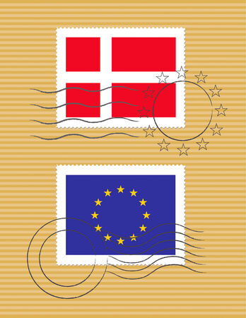 Danish and European Union flags on a stamp with postmarks