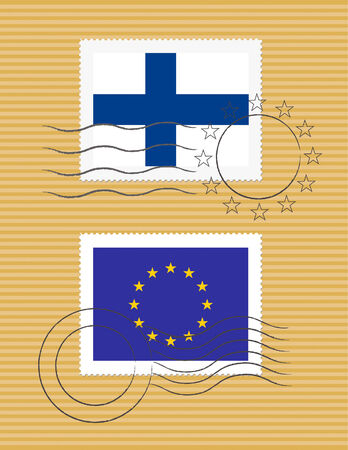 Finnish and European Union flags on a stamp with postmarks
