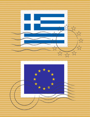 Greek and European Union flags on a stamp with postmarks