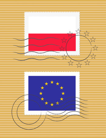 Polish and European Union flags on a stamp with postmarks