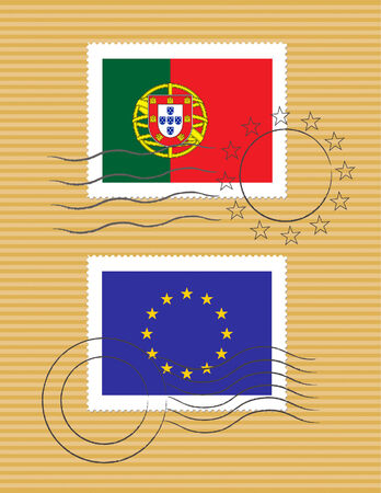 Portuguese and European Union flags on a stamp with postmarks