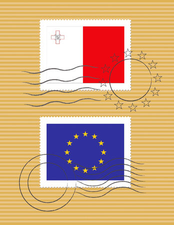 Maltese and European Union flags on a stamp with postmarks Ilustração