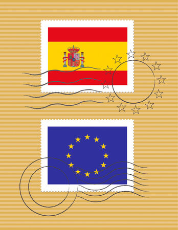 Spanish and European Union flags on a stamp with postmarks Banco de Imagens - 3186267