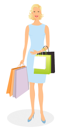 Beautiful smiling girl shopping and carrying bags
