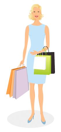 Beautiful smiling girl shopping and carrying bags Banco de Imagens - 3263348