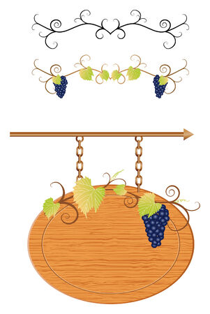Grapevine sign with space for your text and decoration lines Ilustração