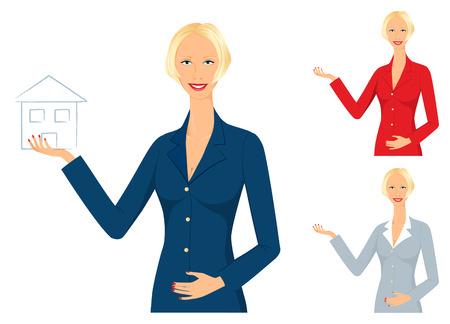 Glimlachende makelaar een nieuw huis verkopen - kan worden gebruikt voor elke service of bedrijfs concept Stock Illustratie