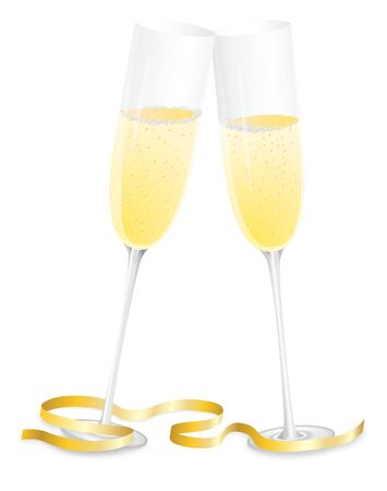 Two flutes of champagne toasting Banco de Imagens - 3535978