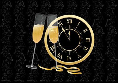 Champagne glasses at midnight Banco de Imagens - 3544462