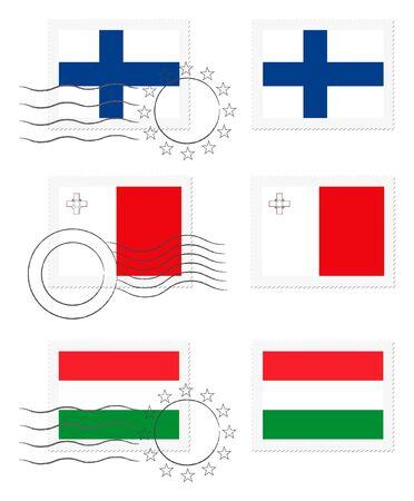 핀란드, 몰타 및 헝가리 - 우표에 깃발