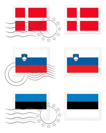 danish flag: Denmark, Slovenia and Estonia - flags on a stamp