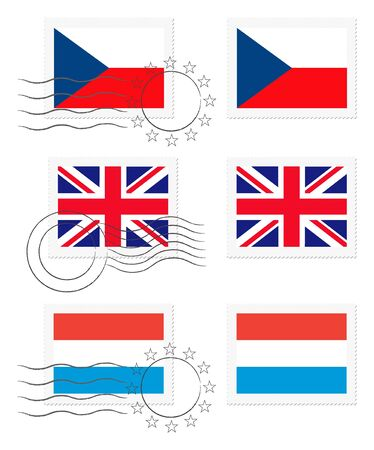 Czech Republic, United Kingdom and Luxembourg - flags on a stamp Фото со стока