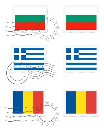 불가리아, 그리스, 루마니아 - 우표에 깃발