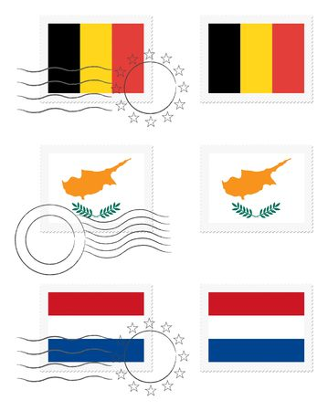 Belgium, Cyprus and Netherlands - flags on a stamp