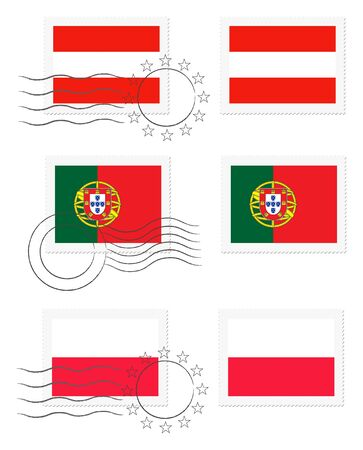スタンプのオーストリア、ポルトガル、ポーランドのフラグ