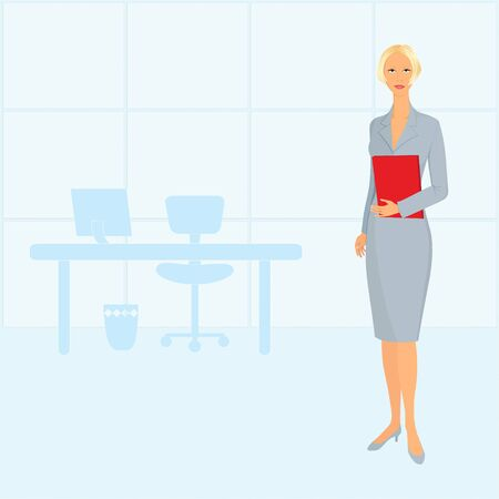 caucasian: Casual and elegant businesswoman at the office