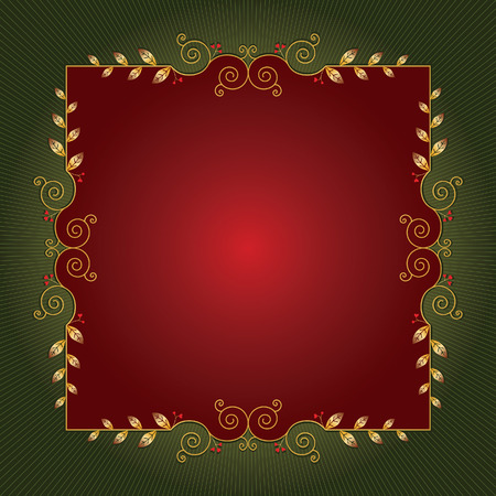 Red and green Christmas background for greeting cards or stationery