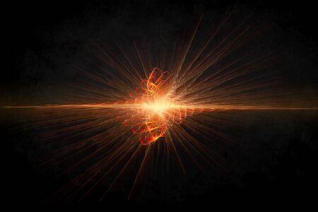 Sun exploding horizon on black background