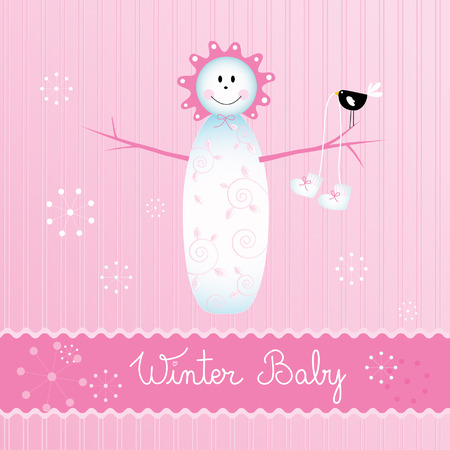 baby girl arrival: Winter baby girl arrival announcement card Illustration