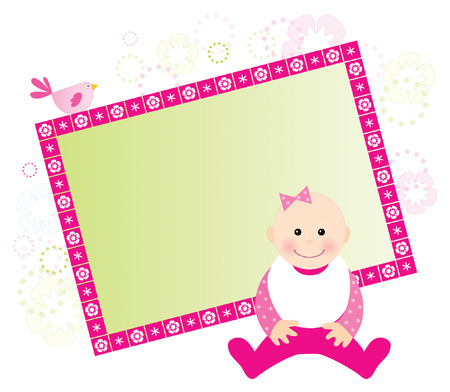 cute baby girls: Baby girl card with space for your text Illustration