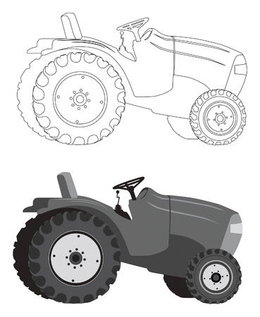 Detailed tractor silhouette in gray shades and outlines Vector